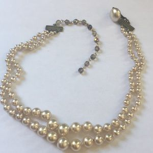 Vintage made in Japan🇯🇵double strand faux pearl